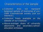characteristics of the sample