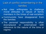 l ack of conflict remembering in the families