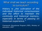 what shall we teach according to curriculum