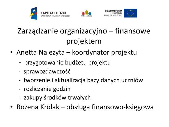 Zarządzanie organizacyjno – finansowe projektem