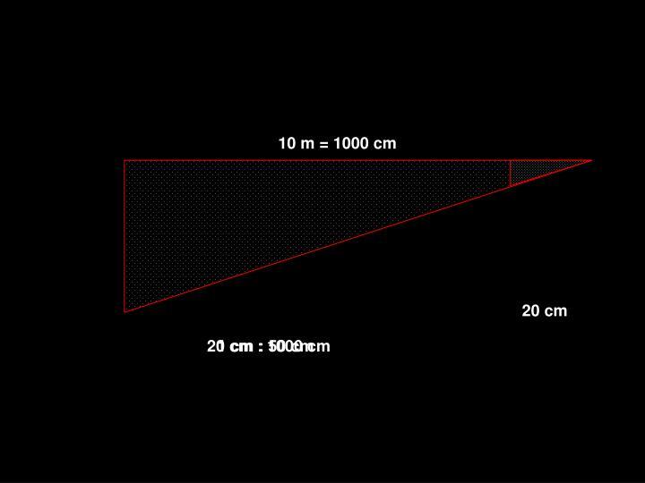 10 m = 1000 cm