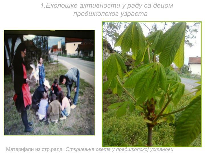 1.Еколошке активности у раду са децом предшколског узраста