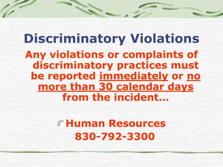 Discriminatory Violations