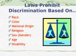 laws prohibit discrimination based on