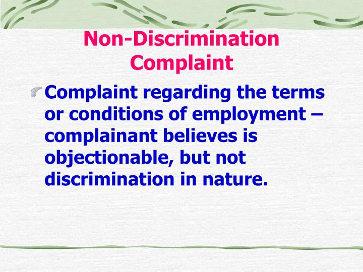 Non-Discrimination Complaint