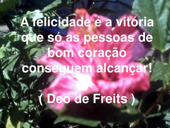 A felicidade é a vitória que só as pessoas de bom coração conseguem alcançar!