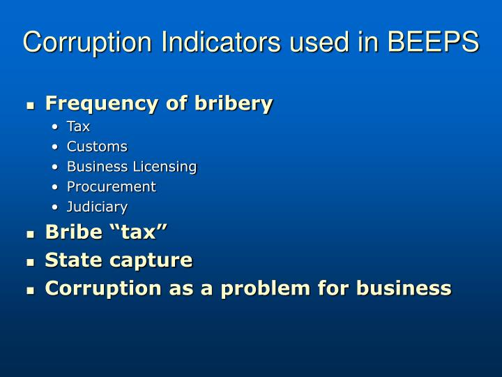 Corruption Indicators used in BEEPS