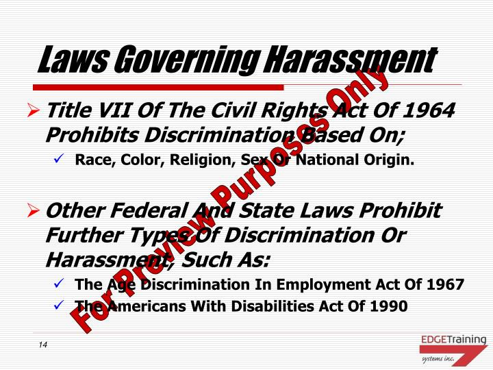 Laws Governing Harassment