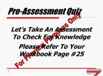 pre assessment quiz