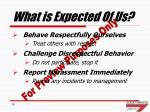what is expected of us