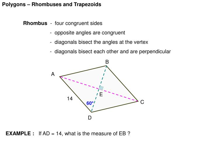 Polygons – Rhombuses and Trapezoids