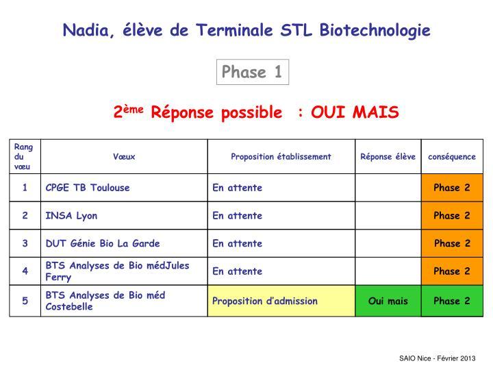 Nadia, élève de Terminale STL Biotechnologie