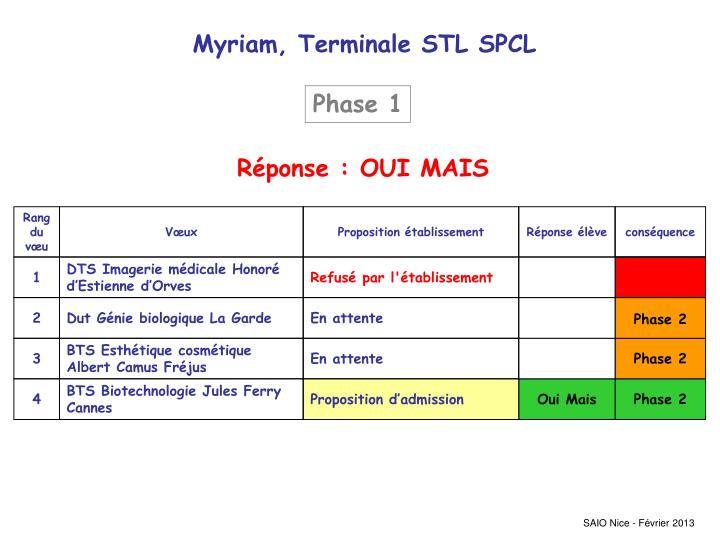 Myriam, Terminale STL SPCL