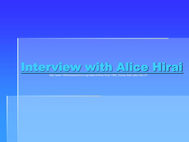 Interview with Alice Hirai