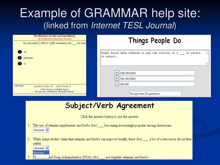 Example of GRAMMAR help site: