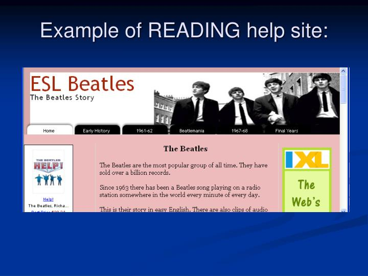 Example of READING help site: