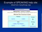 example of speaking help site liked from manythings org