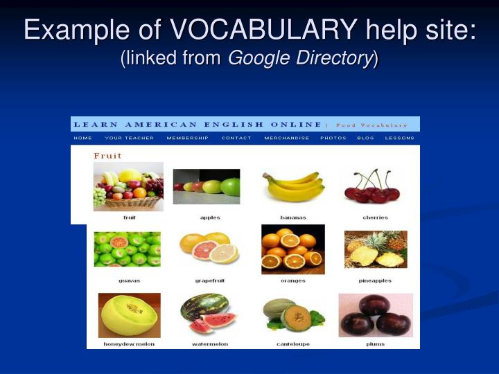 Example of VOCABULARY help site: