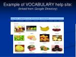 example of vocabulary help site linked from google directory