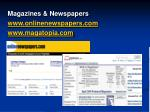 magazines newspapers www onlinenewspapers com www magatopia com
