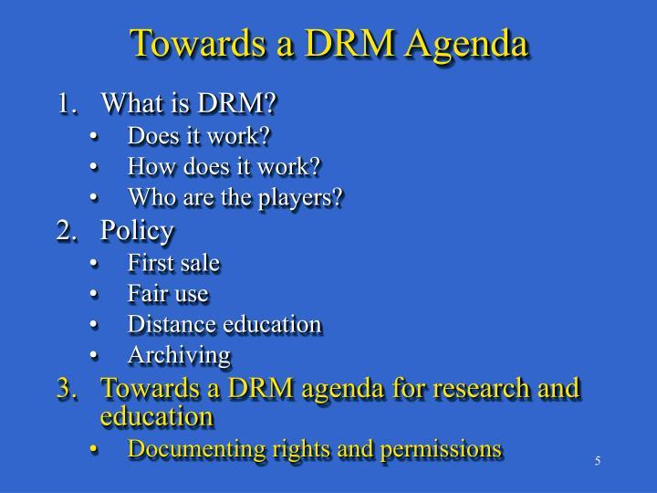 Towards a DRM Agenda