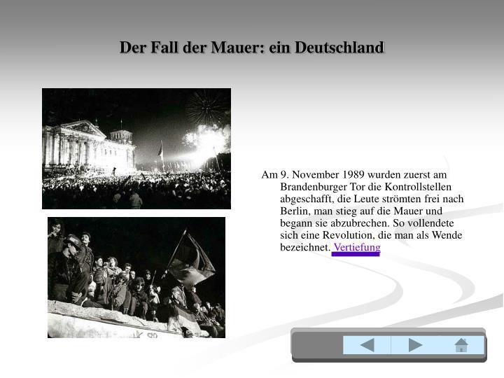 Der Fall der Mauer: ein Deutschland