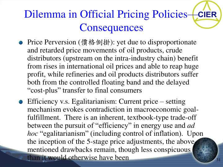 Dilemma in Official Pricing Policies—Consequences