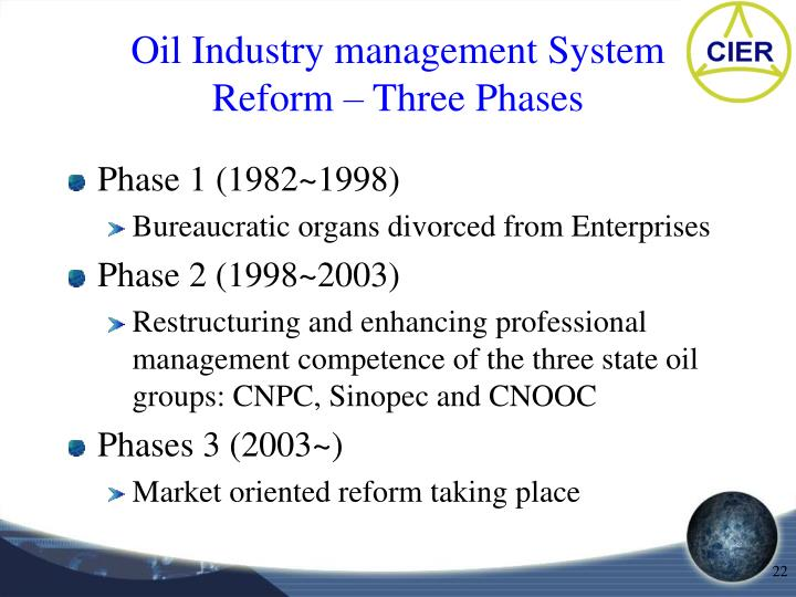 Oil Industry management System Reform – Three Phases