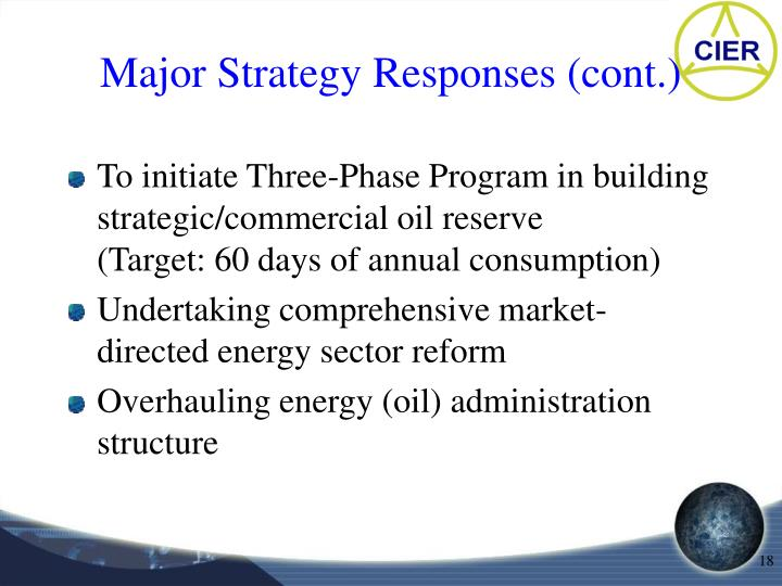 Major Strategy Responses (cont.)