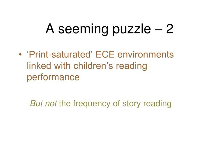 A seeming puzzle – 2
