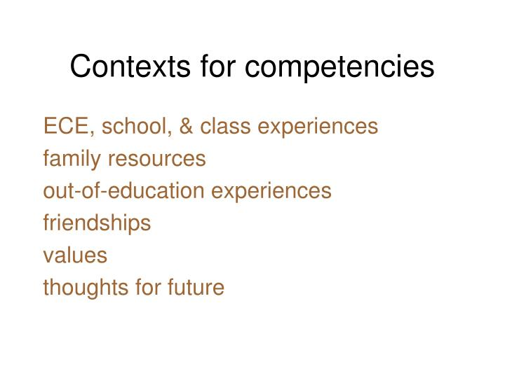 Contexts for competencies