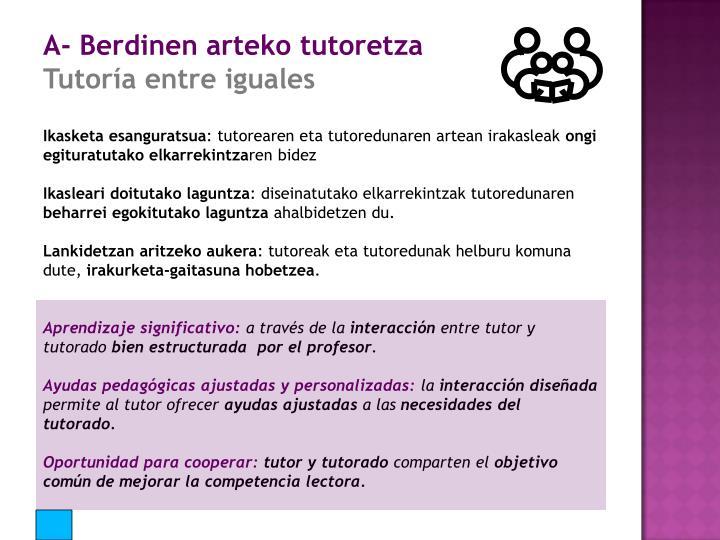 A- Berdinen arteko tutoretza