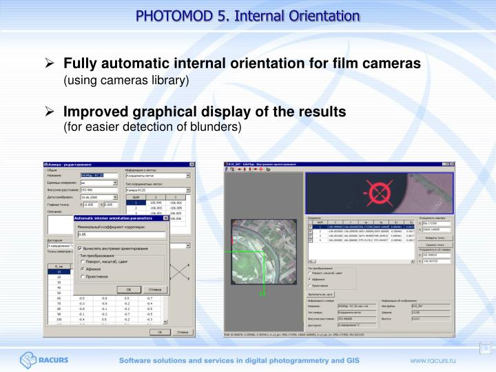 PHOTOMOD 5. Internal Orientation