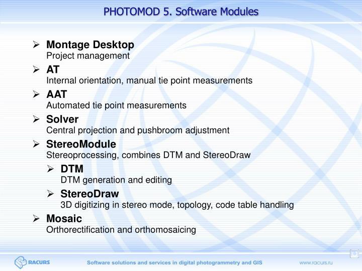 PHOTOMOD 5. Software Modules