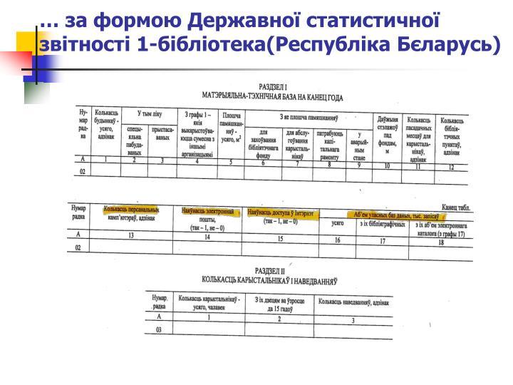 … за формою Державної статистичної звітності 1-бібліотека(Республіка Бєларусь)