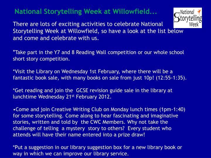 National Storytelling Week at Willowfield...