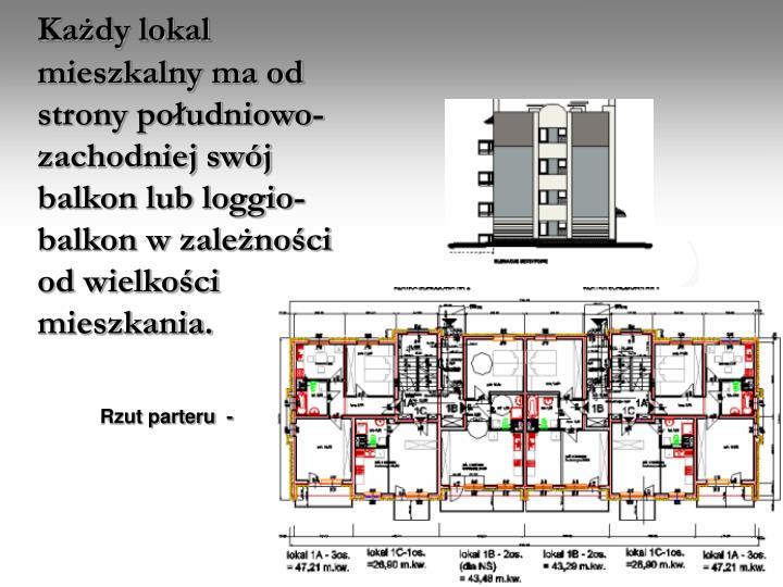 Każdy lokal  mieszkalny ma od strony południowo-zachodniej swój balkon lub loggio-balkon w zależności od wielkości mieszkania
