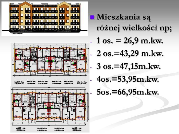 Mieszkania są różnej wielkości np;