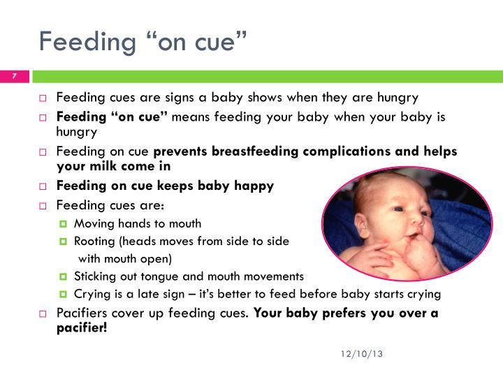 """Feeding """"on cue"""""""
