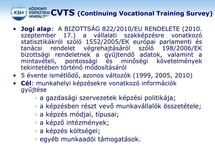 Cvts continuing vocational training survey