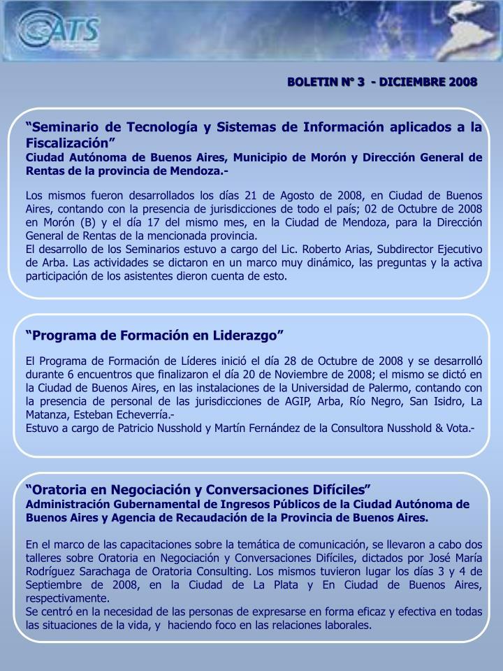BOLETIN N° 3  - DICIEMBRE 2008