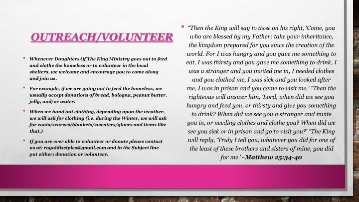 Outreach/Volunteer