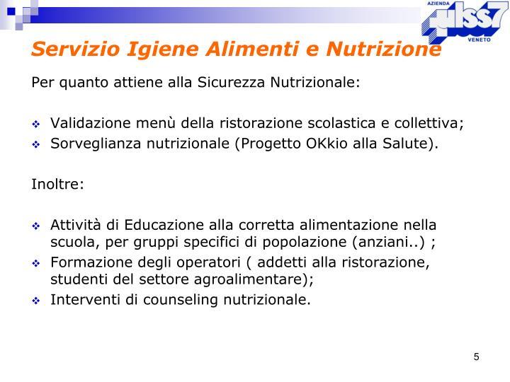 Servizio Igiene Alimenti e Nutrizione