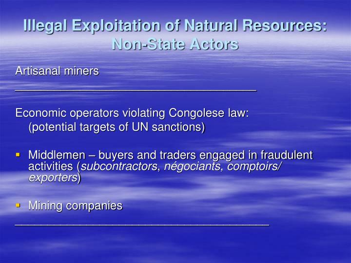 Illegal Exploitation of Natural Resources: Non-State Actors