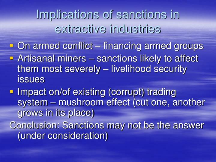 Implications of sanctions in extractive industries