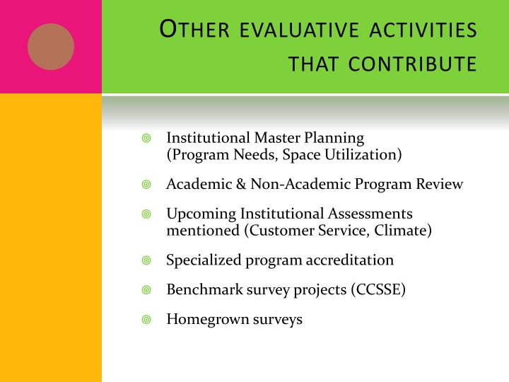 Other evaluative activities that contribute