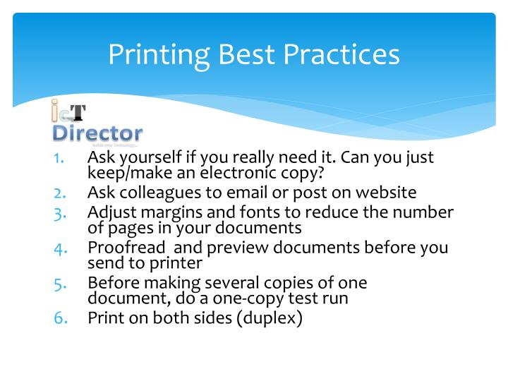 Printing Best Practices