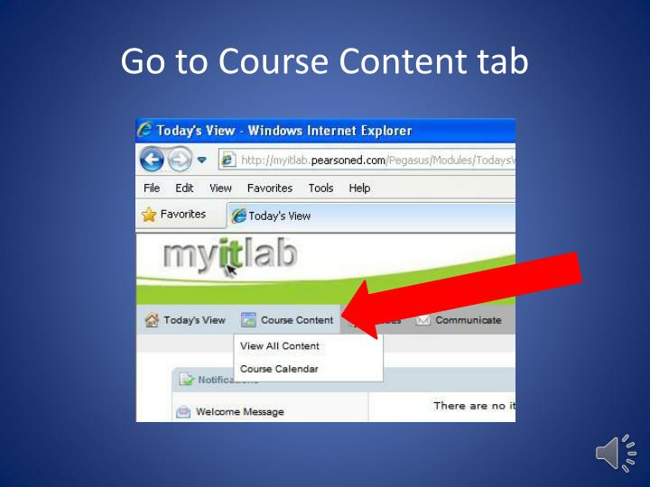 Go to Course Content tab