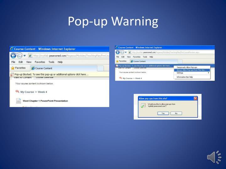 Pop-up Warning