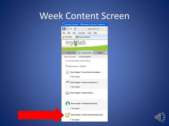 Week Content Screen